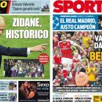 2017年6月4日(日)のバルセロナスポーツ紙:マドリーがチャンピオンズを制す