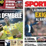2017年6月5日(月)のバルセロナスポーツ紙: