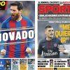 2017年7月05日(水)のバルセロナスポーツ紙:メッシの契約更新と迷える(?)セバージョス