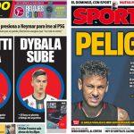 2017年7月21日(金)のバルセロナスポーツ紙:ネイマールの残留危うし?ディバラ登場