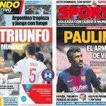 2017年9月06日(水)のバルセロナスポーツ紙:スペイン、ワールドカップ出場に王手