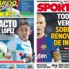 2017年9月07日(木)のバルセロナスポーツ紙:イニエスタの契約更新が気になる