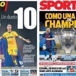2017年9月12日(火)のバルセロナスポーツ紙:注目集まる メッシ対ディバラ