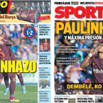 2017年9月17日(日)のバルセロナスポーツ紙:パウリーニョ弾!