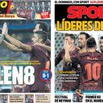 2017年9月28日(木)のバルセロナスポーツ紙:リスボンでも勝って8連勝