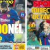 2017年10月19日(木)のバルセロナスポーツ紙:バルサ勝ち、メッシが欧州戦100得点