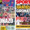 2017年10月30日(月)のバルセロナスポーツ紙:ジローナが金星!