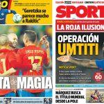 2017年11月12日(日)のバルセロナスポーツ紙:スペイン、親善試合で大勝