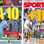 2017年11月19日(日)のバルセロナスポーツ紙:白組に10ポイント差!