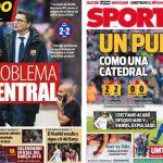 2017年12月03日(日)のバルセロナスポーツ紙:引き分け、ウンティティ2ヶ月離脱!