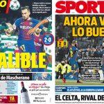 2017年12月06日(水)のバルセロナスポーツ紙:決めるアルカセル、試合を変えるメッシ