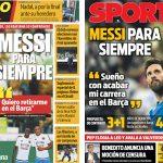 2017年6月9日(金)のバルセロナスポーツ紙:メッシ、バルサでの引退を夢見る