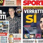 2,017年6月16日(金)のバルセロナスポーツ紙:ベラッティ加熱