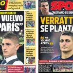 2017年6月19日(月)のバルセロナスポーツ紙:ベラッティのPSGに戻らない宣言