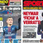 2017年6月24日(土)のバルセロナスポーツ紙:ベラッティとPSGのバトル
