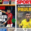 2017年6月25日(日)のバルセロナスポーツ紙:パウリーニョと交渉