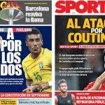 2017年7月25日(火)のバルセロナスポーツ紙:コウチーニョを獲りにいく