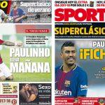 2017年8月13日(日)のバルセロナスポーツ紙:パウリーニョが来る