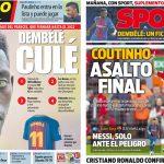 2017年8月26日(土)のバルセロナスポーツ紙:デンベレ決まり