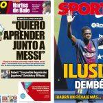 2017年8月29日(火)のバルセロナスポーツ紙:デンベレ入団発表