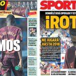 2017年9月18日(月)のバルセロナスポーツ紙:デンベレ、全治3-4ヶ月