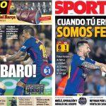 2017年9月20日(水)のバルセロナスポーツ紙:超メッシ+パウリーニョで大勝