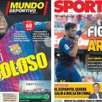 2017年10月16日(月)のバルセロナスポーツ紙:ウンティティとアルナイス