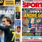 2017年10月27日(金)のバルセロナスポーツ紙:グリエスマンとアンドレ・ゴメス