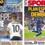 2017年11月14日(火)のバルセロナスポーツ紙:コウチーニョとデンベレ