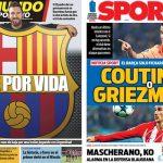 2017年11月16日(木)のバルセロナスポーツ紙:コウチーニョかグリエスマンか