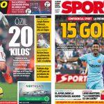 2017年11月21日(火)のバルセロナスポーツ紙:エジルとパウリーニョ