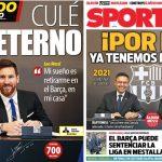 2017年11月26日(日)のバルセロナスポーツ紙:メッシ契約更新!