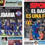 2017年11月30日(木)のバルセロナスポーツ紙:連帯の日のゴール祭り