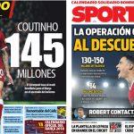 2017年12月01日(金)のバルセロナスポーツ紙:コウチーニョ 1億4~5,000万ユーロ