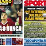 2017年12月07日(木)のバルセロナスポーツ紙:メッシ、マスチェ退団に理解