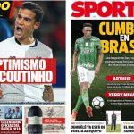 2017年12月15日(金)のバルセロナスポーツ紙:コウチーニョとミナとアルトゥール