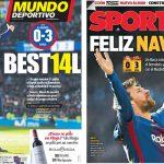 2017年12月24日(日)のバルセロナスポーツ紙:+14のハッピークリスマス!