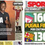 2018年1月04日(木)のバルセロナスポーツ紙:デンベレの再登場なるか