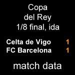 マッチデータ|国王杯1/8 第1戦 セルタ 1-1 バルサ