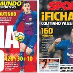 2018年1月07日(日)のバルセロナスポーツ紙:コウチーニョ獲得!