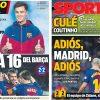2018年1月08日(月)のバルセロナスポーツ紙:コウチーニョ登場、マドリーと16差