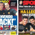 2018年1月10日(水)のバルセロナスポーツ紙:ようこそコウチーニョ!