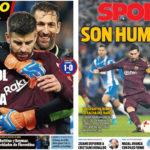 2018年1月18日(木)のバルセロナスポーツ紙:今季初黒星!止めたのはエスパニョール