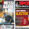2018年1月23日(火)のバルセロナスポーツ紙:メッシ絶好調