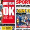 2018年1月24日(水)のバルセロナスポーツ紙:コパデルビー第二幕前日、そしてアルトゥール