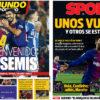 2018年1月26日(金)のバルセロナスポーツ紙:エスパニョールを下してコパ準決勝へ