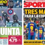 2018年2月01日(木)のバルセロナスポーツ紙:コパ準決勝に気合