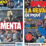 2018年2月05日(月)のバルセロナスポーツ紙:ピケの返報は同点弾