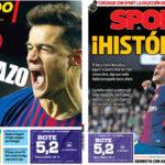 2018年2月09日(金)のバルセロナスポーツ紙:コウチーニョ初得点&コパ決勝へ!