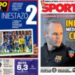 2018年2月16日(金)のバルセロナスポーツ紙:イニエスタ、燃えたり迷ったり?